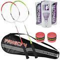 Fangcan Composite Badminton Racket Pareja Set PIONEER 1314 Red y Green Pack de 2