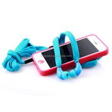 in ear metal shoelace cable earphones/ shoestring earbuds with mic mobile phone accessory