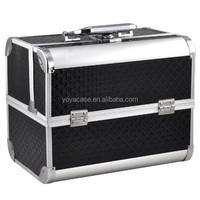 Aluminum vanity case Salon box vanity case jewelry bag beauty case (black)
