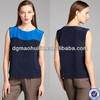 Azure and navy silk colorblocked fashionable sleeveless silk blouse models women summer clothing
