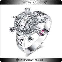 Fashion 925 sterling siver engagement wedding turtle ring design for women unique ladies zircon ring factory direct sale jewelry