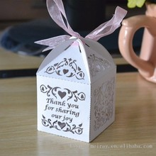 sweet love vine favor boxes with custom names,ivory&red personalised wedding favor boxes laser cut