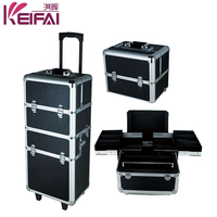 Women Fashion Professional 4in1 Lighting Aluminum Makeup Case With Legs