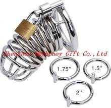 plata de acero inoxidable con cierre de anillo para el pene anillo para el pene pene gallo jaula jaula de juguetes m200