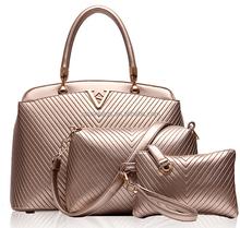 Wholesale Gold Color 3 Pieces One Set Fashion Ladys Elegant Bag