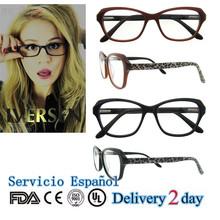 Marco óptico de gafas de lectura para leer de acetato de negro de moda monturas opticas de gafas para las mujeres China