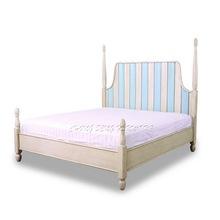 White & Blue colour Italian art deco headboard 1.8m solid wood platform bed frame