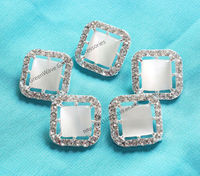 20mm fashion square crystal decorative metal button with shank sew on coat opal button garment accessory fur coat decoration
