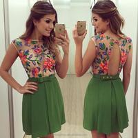 vestidos new fashion women sleeveless lace chiffon dress casual beach dress summer style party dresses