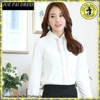 Korea Fashion Tailored Poplin hollow texture Office Lady Blouses Supplier