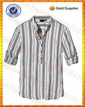 100% de lino tira hacia abajo la mitad de abertura de la manga del rodillo de la moda camisas para hombres