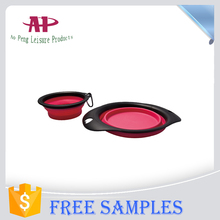 2016 Best Selling Dog Bowl Product Colorful Collapsible Pet Dog Bowl With Hook