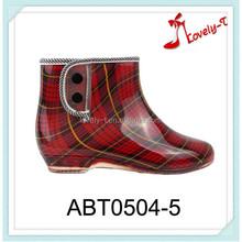 Bonne qualité femme talons bas boutons bottes de sécurité cheville bottes de pluie
