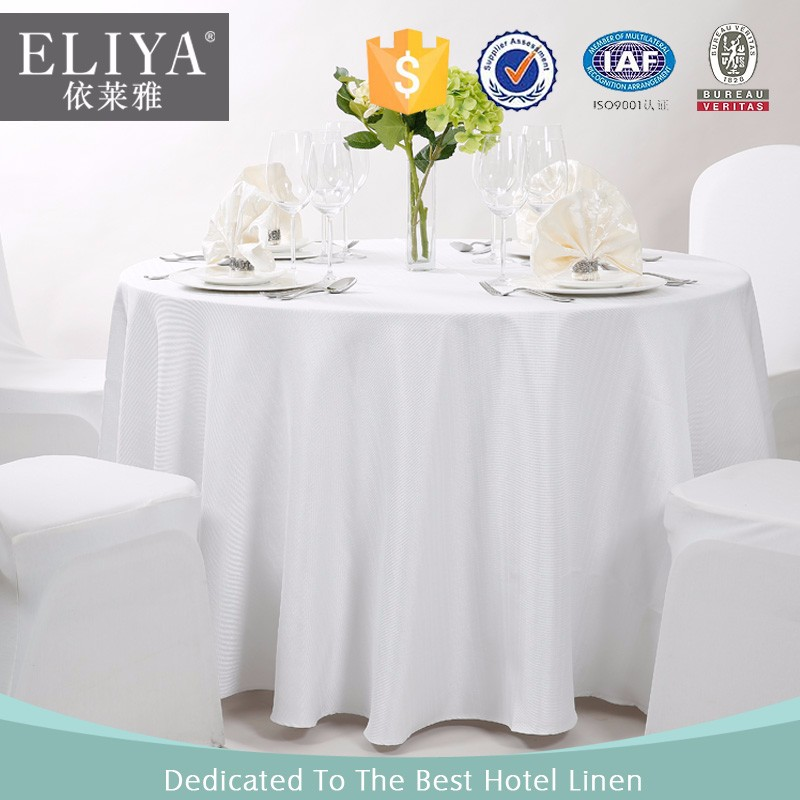 White Round Hotel Polyester Tablecloth Table Linen