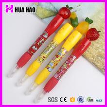 Logo printing kids pen cute fruit plastic ball pen for promotion gifts