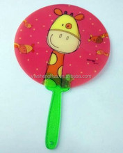 Custom printed new designed rose red hand pp fan with green handle ,plastic hand fan supplier and manufacture