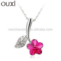 OUXI 2014 summer fashionable flower pendant necklace made with Swarovski Elements