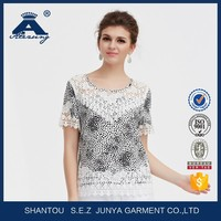 Newest Short Sleeve Summer Embroidered Patchwork Women Blouse
