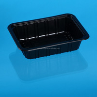 China Supplier Disposable Black Plastic Disposable Meat, Chicken and fish packing Tray