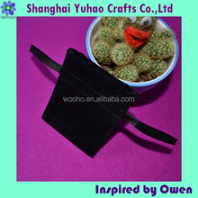 Mini Black velvet Jewelry/cosmetic/timepieces packaging pouch with logo and drawstring OEM/ODM