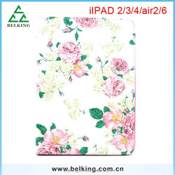 Colorful Flower Printed PU Flip Stand Wallet Leather Case for ipad 4 3 2