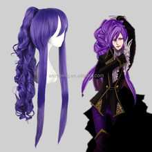 High Quality 90cm Long Curly VOCALOID-Gakupo Purple Synthetic Anime Lolita Wig Cosplay Hair Ponytails wig Party Wig