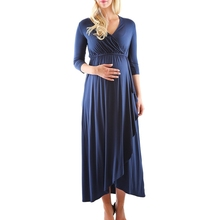 v neck cinched elastic waist ruched women long sleeve pregnant party dress royal blue muslim maternity clothing