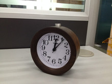 Small Gift cute Wood Alarm Clock with Round Silent table Snooze