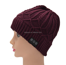 Bluetooth Beanie Hat Combined with Stereo Headphones and Microphone; Hands Free Talking for Smartphones