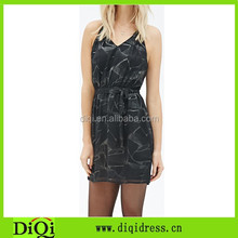 Summer hot sell sexy backless dress abstract print halter women dress