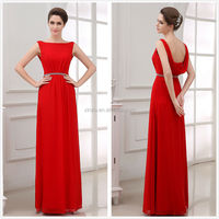 Sleeveless Crystal Beads Floor Length Maid Of Honor Wedding Dresses