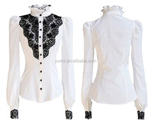 Casual White With Black floral Lace Stand Collar Puff Sleeve Shirt