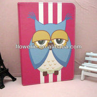 FL2823 2013 Guangzhou hot selling stand owl wallet leather flip case with card holder for ipad 5