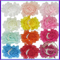 In Stock Chiffon Flowers Rosette Hair Flower With Fake Pearl Center Hair Accessories,Infant Back Flowers