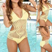 Top sexy forever fashion crochet bikini sets many colorways 100% cotton Siamese Bikini Swimwear