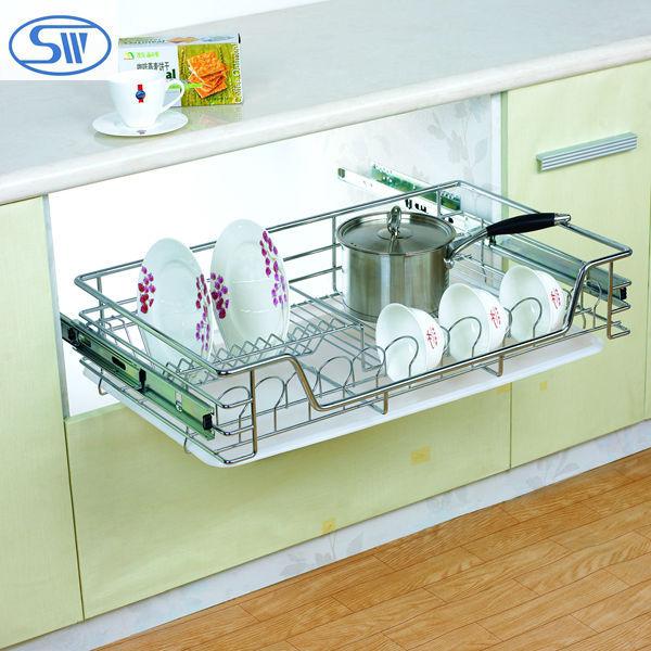 Guangzhou fabriekslevering keuken kast slide design keuken trek mand keuken afdruiprek opslag - Keukenkast outs ...