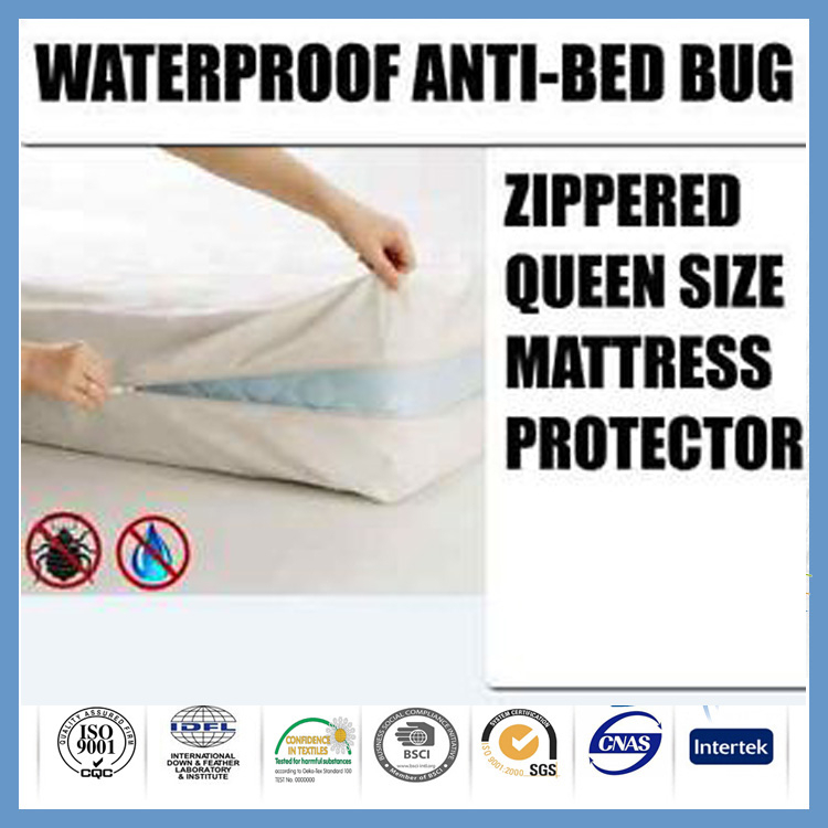 Polyester waterproof bed bug zip mattress protector cover for Bed bug and waterproof mattress protector