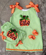 Baby Pumpkin Outfit Monogrammed Dress And Diaper Cover Fall Thanksgiving halloween
