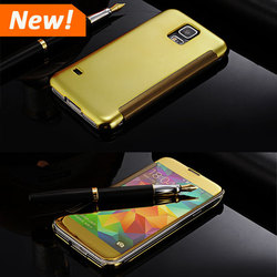 S5 Fundas Best Original Clear Smart View Mirror Flip Leather Case For Samsung Galaxy S5 i9600 Back Cover Housing Capa Shell