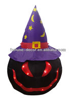 180cm high Halloween inflatable black pumpkin with hat