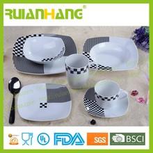 Set square dinnerware black and white, modern restaurant dinnerware set