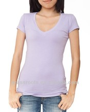 TX0612 Spandex Women Sweater V Neck Blank T-shirt Wholesale 2014