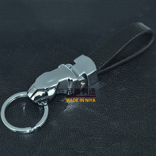 Zinc alloy metal shinny chrome plated/Advertising promotion 3D jaguar keychains, Genuine leather jaguar keychains