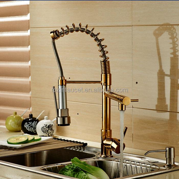 Farbwechsel led-licht küchenarmatur Doppel-Auslauf messing goldene ...
