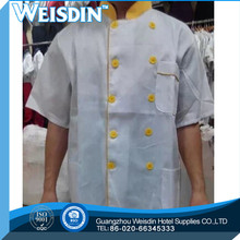 new design long sleeve white color pearl buttons executive chef coat chef jacket chef uniforms factory