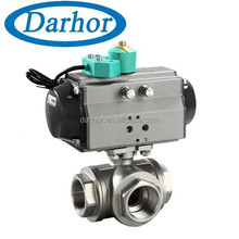 DHBV-P 3 way pneumatic ball valve thread type
