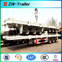 China 60ton 3 axles flat bed or skeletal 40ft container trailer / 60 tons tri-axle 40# container truck semitrailer