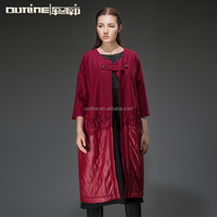 Lunkuo 2014 Original Brand Appliqued Patchwork Three Quarter Sleeve Plus Size Ladies Red Trench Coat Fashion L144Y002