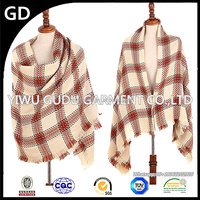 2015 south Korean version of the new autumn and winter imitation cashmere shawl scarf, short tassel grid women scarves shawls