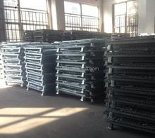 folding galvanized wire mesh bin with wheels